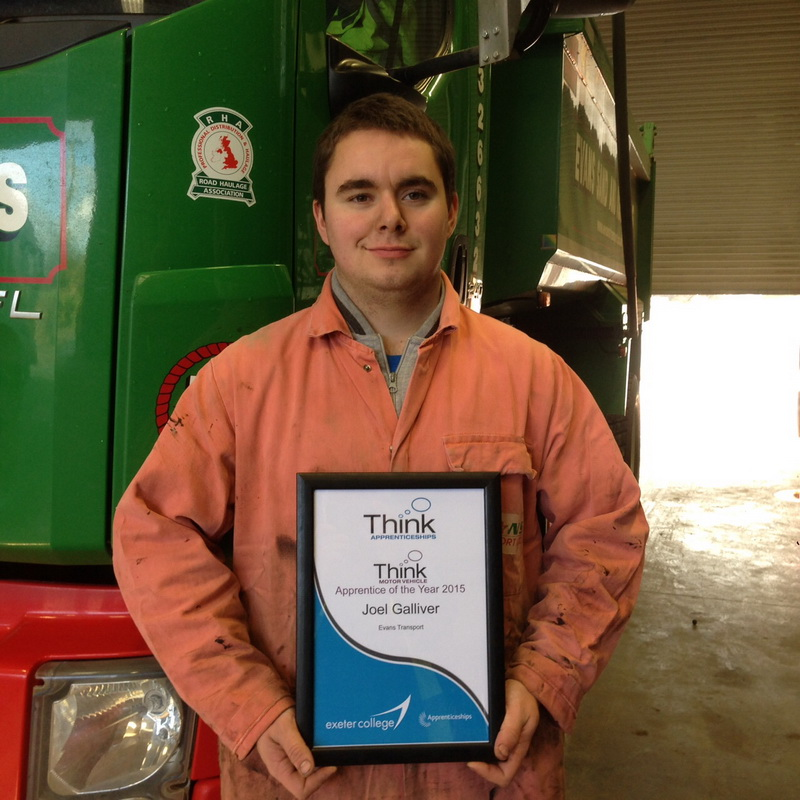 Evans Transport Apprentice wins the THINK Apprentice of the year award.